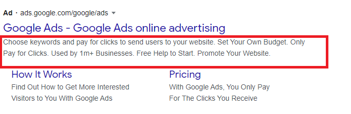 Google ads description