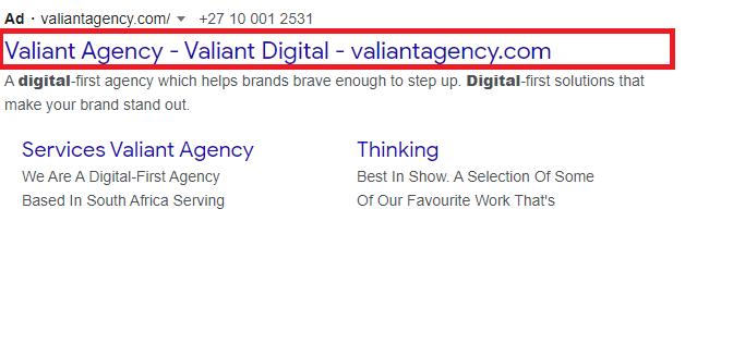 Google ads headline